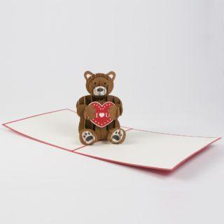 Pop Up Karte Bär mit Herz Produktbild Ganz