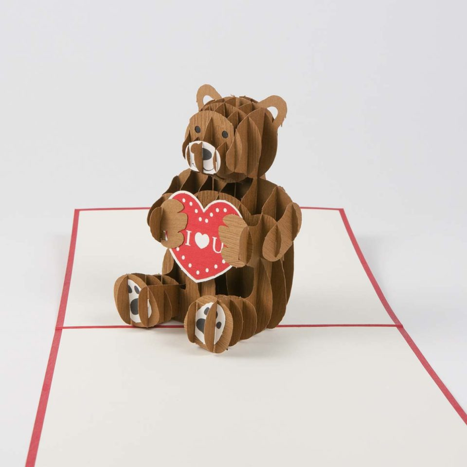 Pop Up Karte Bär mit Herz Produktbild Vordersetie