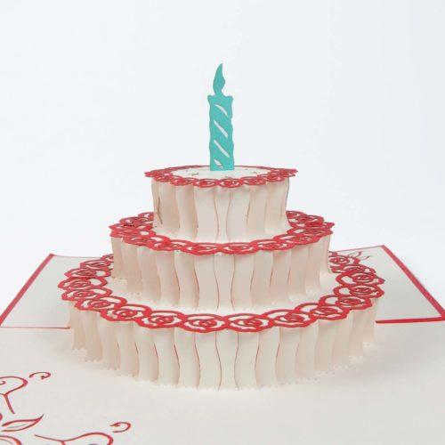 Pop Up Karte Geburtstagstorte mit Kerze Front