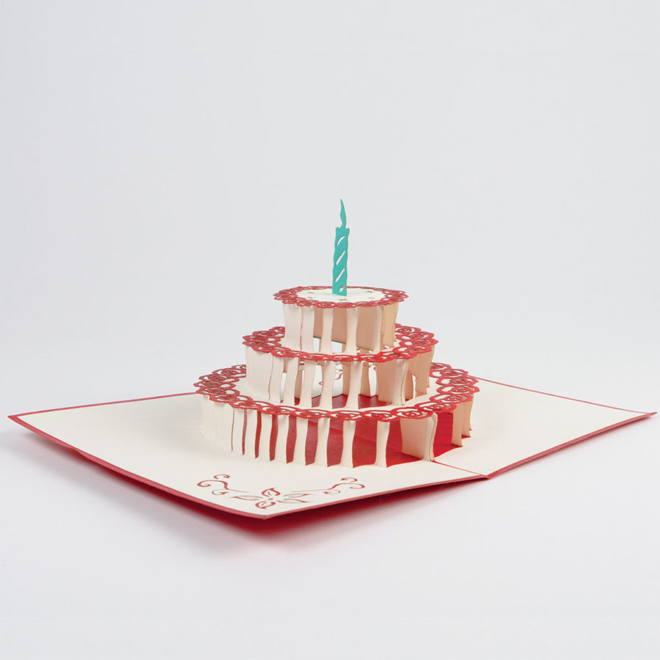 Geburtstagstorte mit Kerze Pop Up Karte Ganz