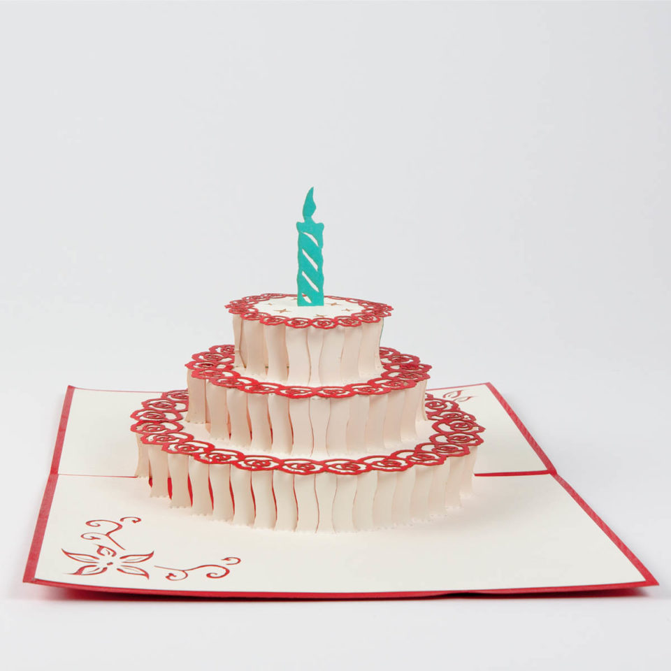 Geburtstagstorte mit Kerze Pop Up Karte Vorderseite