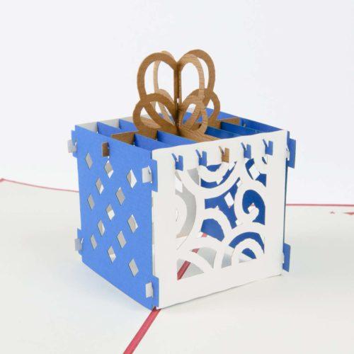 Pop Up Karte Geschenkbox Blau Produktbild Schräg