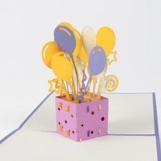 Pop Up Karte Geschenkbox mit Ballons Produktbild Schräg