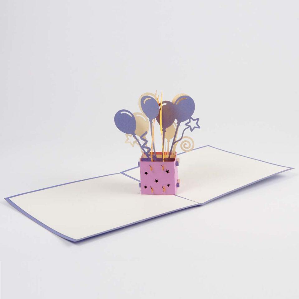 Geschenk mit Luftballons Pop Up Karte Ganz
