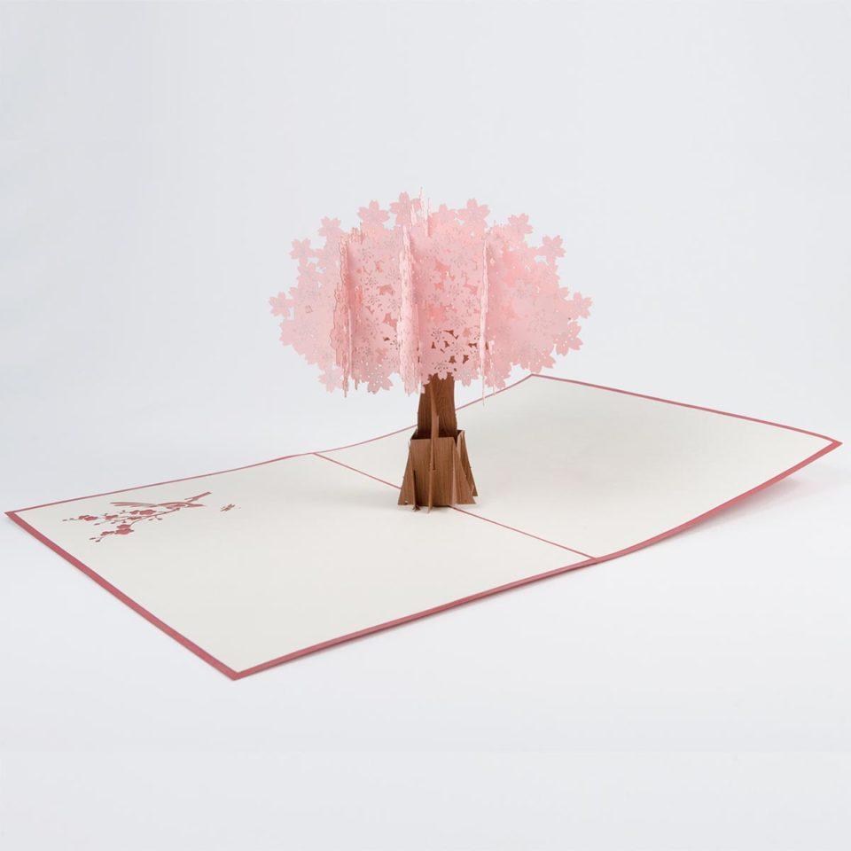 Kirschbaum in Rosa Pop Up Karte Produktbild Ganz