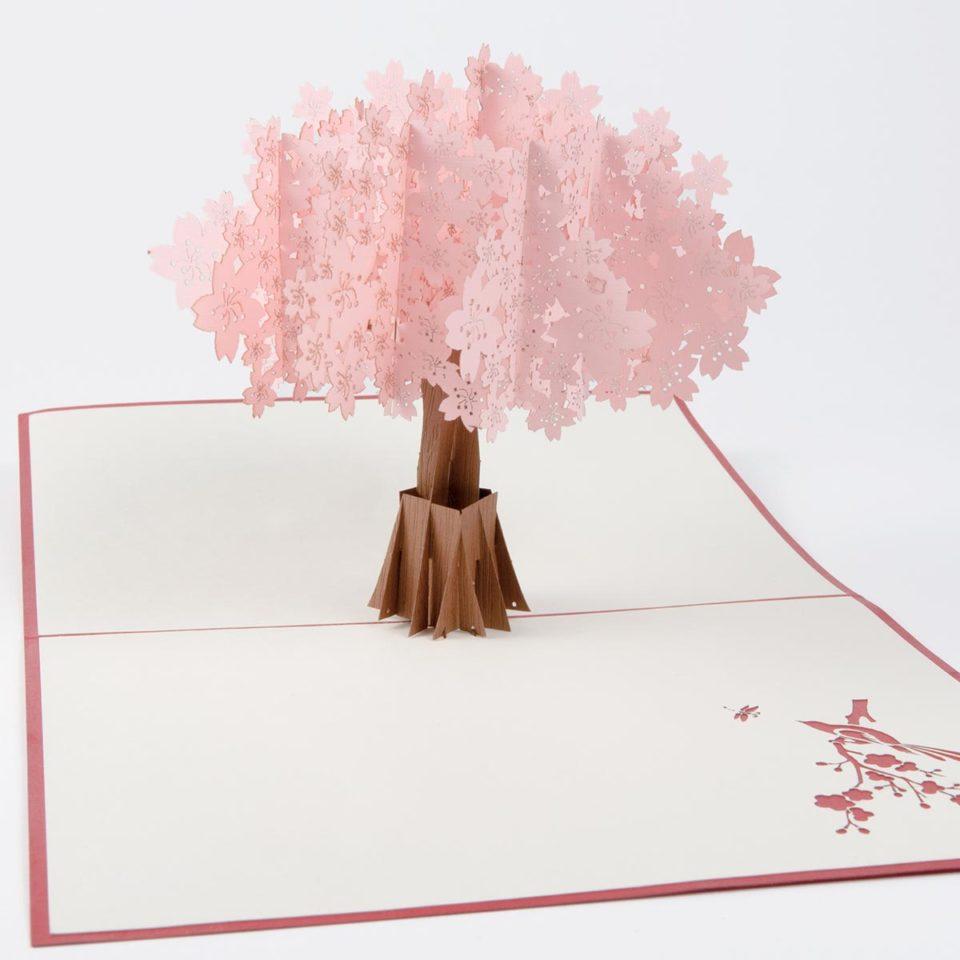 Kirschbaum in Rosa Pop Up Karte Produktbild Vorderseite
